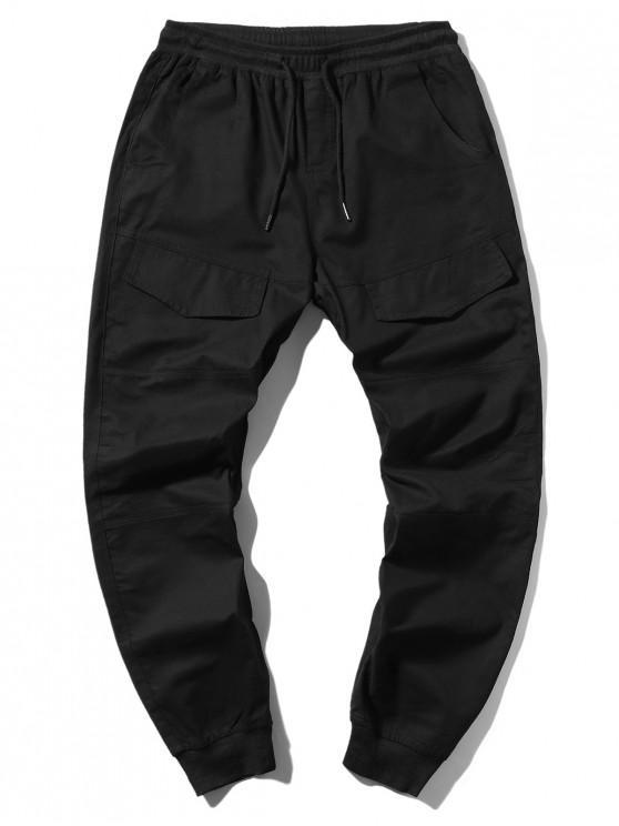 Pantalon de Jogging Elastique en Couleur Unie à Cordon avec Poche - Noir XL