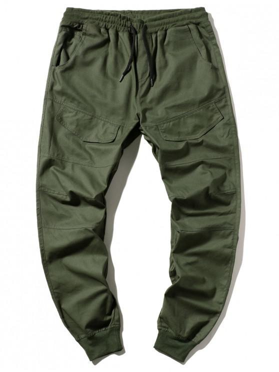 Со шнуровкой Карман Одноцветные Брюки-джоггер - Армейский зеленый S