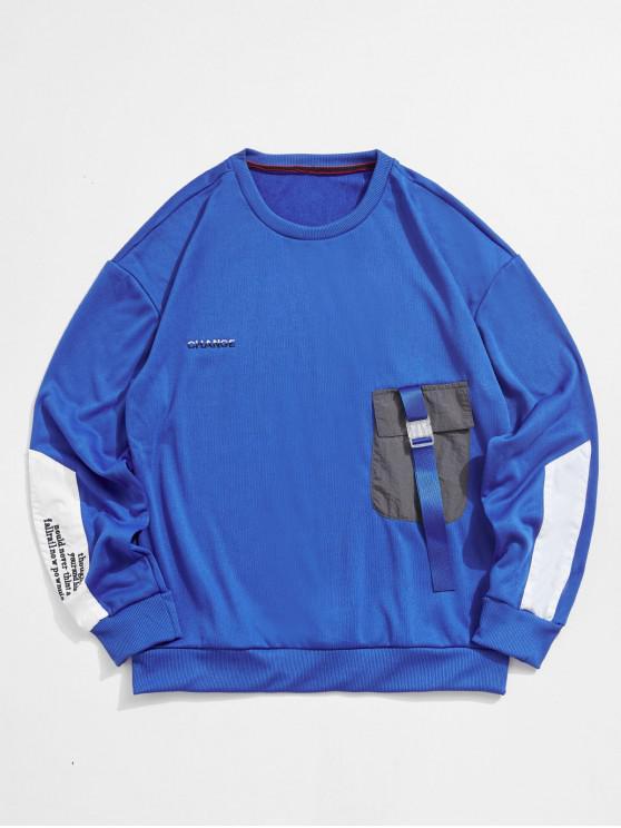 Colorblockスプライシングされたポケットの手紙刺繍スウェットシャツ - ブルーベリーブルー M