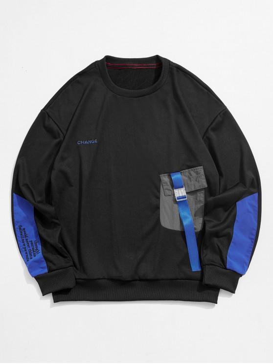 fashion Colorblock Spliced Pocket Letter Embroidery Sweatshirt - BLACK XL