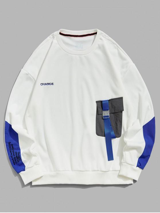 Colorblockスプライシングされたポケットの手紙刺繍スウェットシャツ - ミルクホワイト M