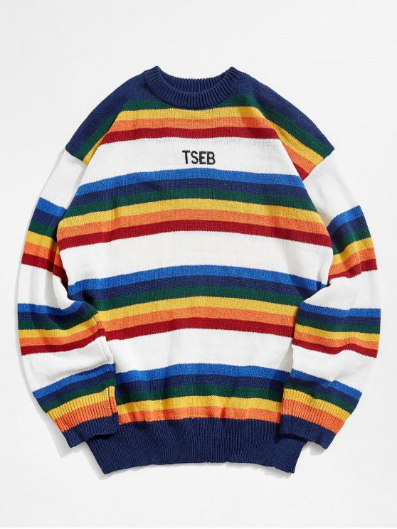 fashion Colorful Stripes Embroidery Sweater - WHITE L