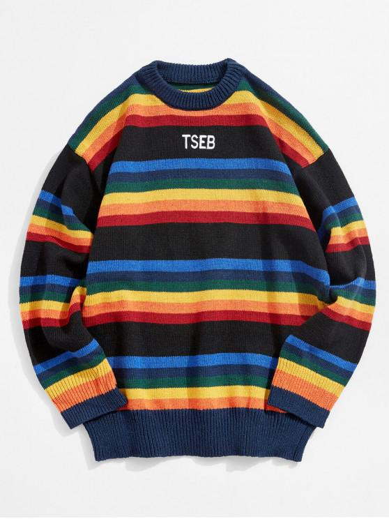 fancy Colorful Stripes Embroidery Sweater - BLACK 2XL