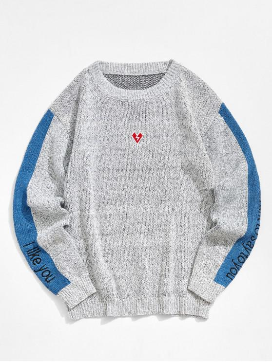 womens Contrast Color Spliced Letter Graphic Embroidery Sweater - LIGHT GRAY XS