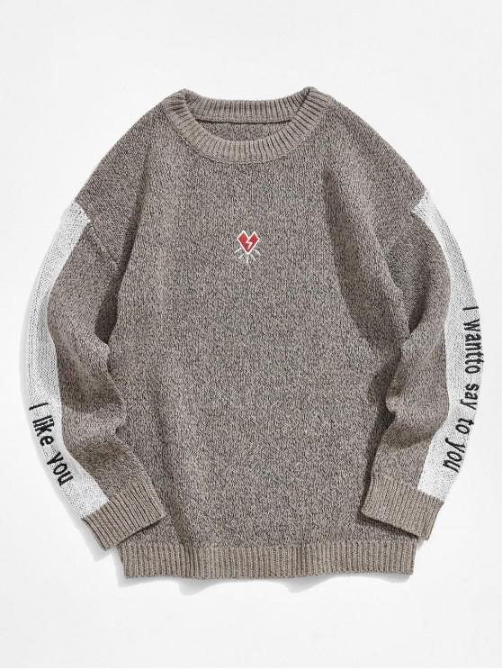 ladies Contrast Color Spliced Letter Graphic Embroidery Sweater - COFFEE S