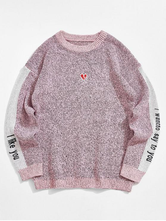 trendy Contrast Color Spliced Letter Graphic Embroidery Sweater - PINK XS