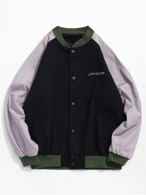 Цветной блок Вышивка буквы Рукав реглан Куртка - Чёрный M