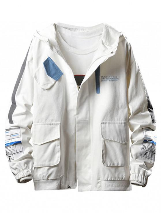 womens Letter Pocket Decoration Casual Jacket - WHITE 2XL