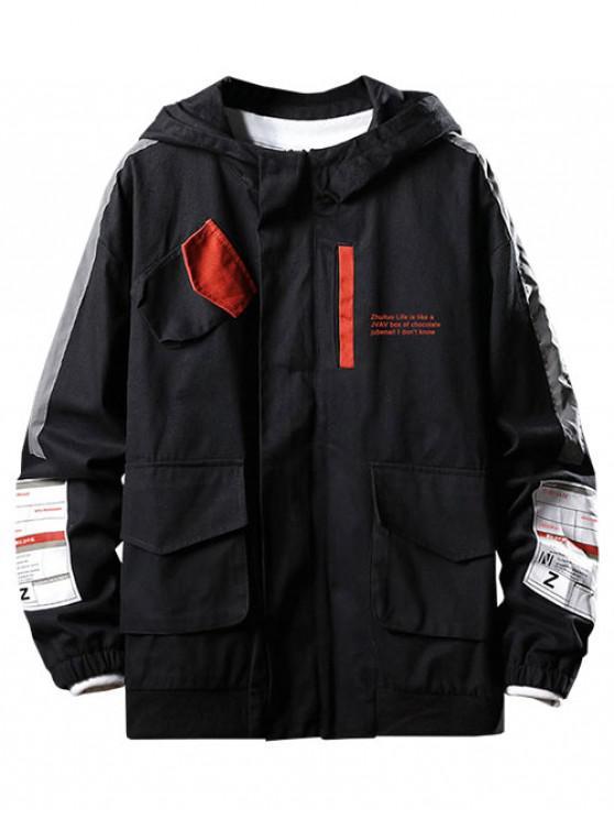Принт буквы Карман для украшения Повседневная Куртка - Чёрный L