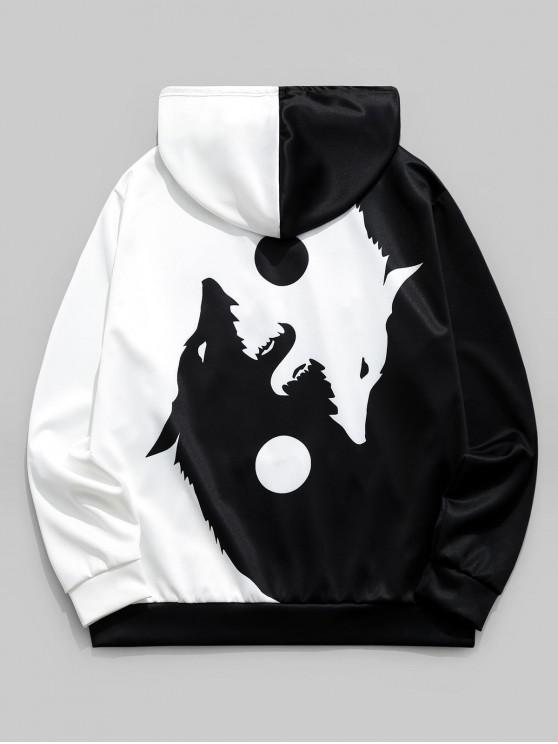 best Two Tone Wolf Print Kangaroo Pocket Drawstring Hoodie - BLACK XL