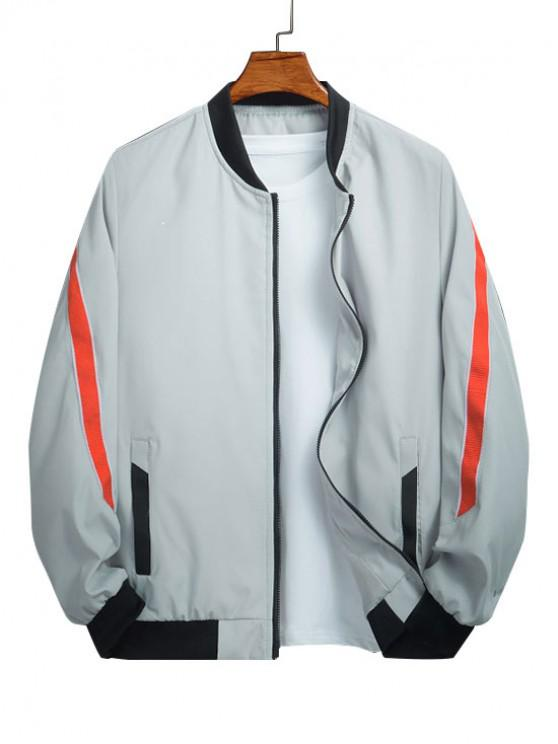 women's Color Spliced Pocket Design Zip Up Jacket - LIGHT GRAY L