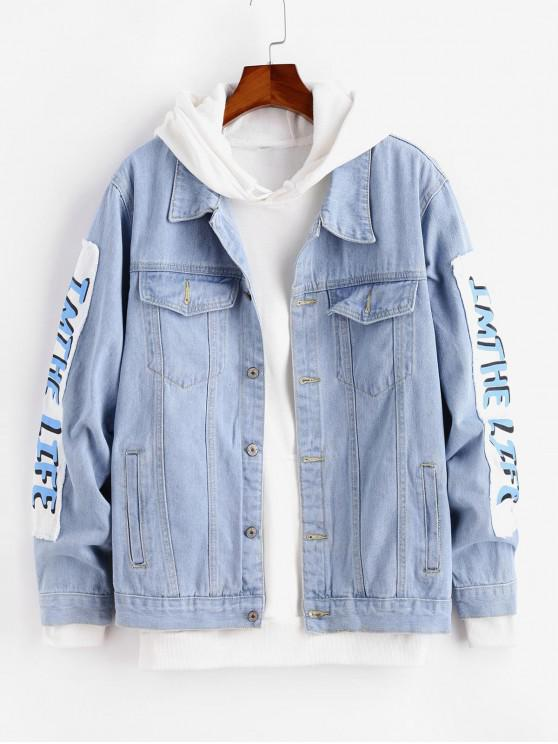 women Graphic Printed Casual Denim Jacket - JEANS BLUE M