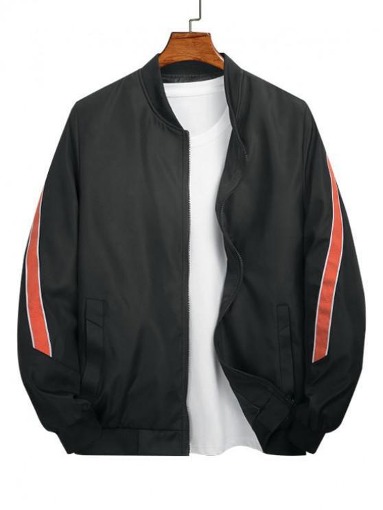 trendy Color Spliced Pocket Design Zip Up Jacket - BLACK XL