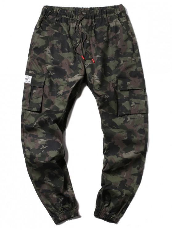ladies Camouflage Multi-Pocket Drawstring Cargo Jogger Pants - ARMY GREEN M