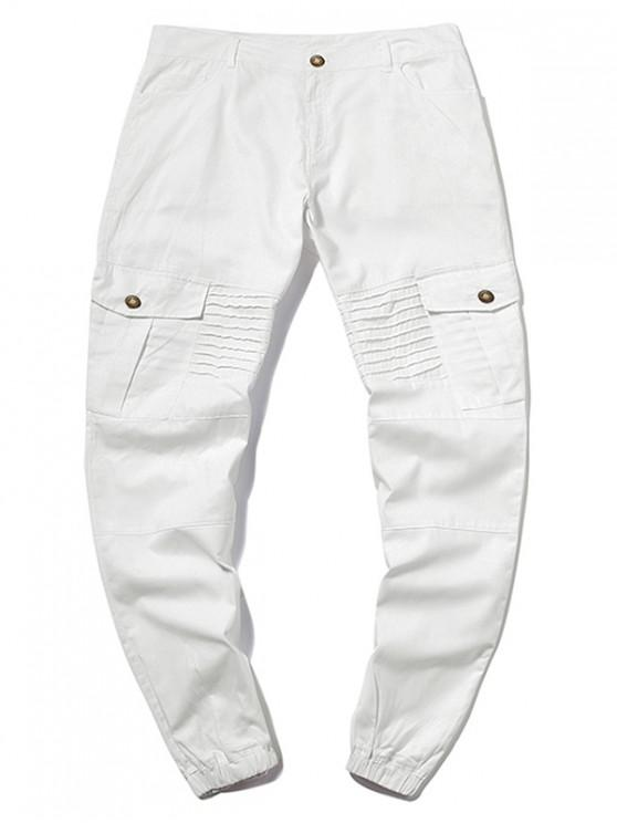 lady Pleated Flap Pocket Solid Color Jogger Pants - WHITE 3XL