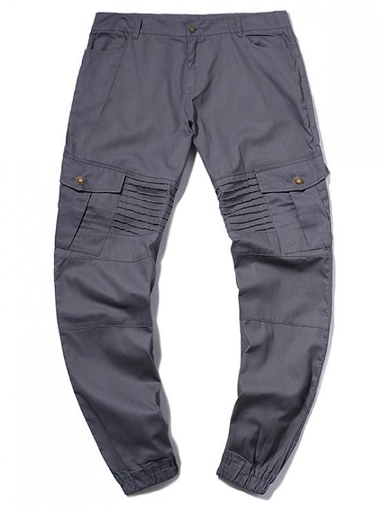 buy Pleated Flap Pocket Solid Color Jogger Pants - GRAY M
