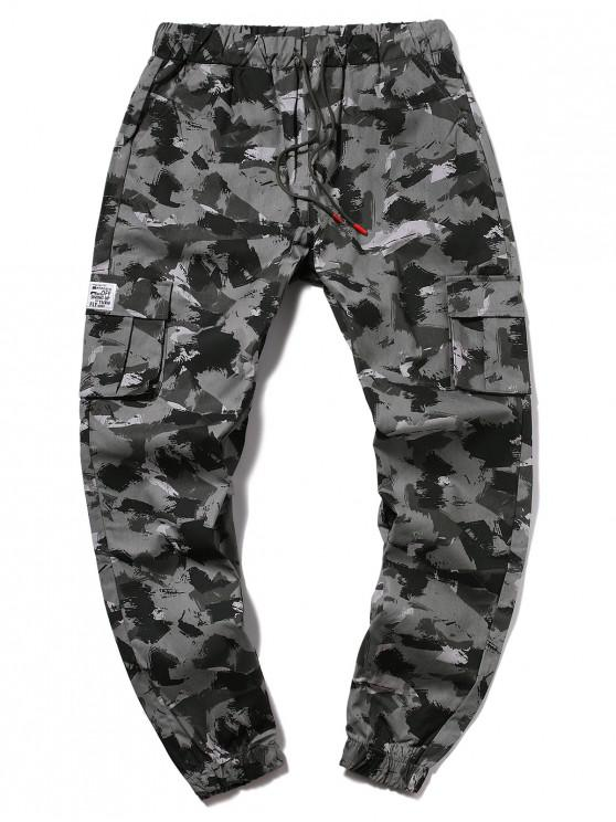 trendy Camouflage Multi-Pocket Drawstring Cargo Jogger Pants - GRAY 2XL