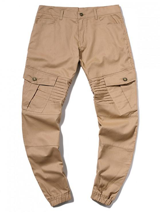 affordable Pleated Flap Pocket Solid Color Jogger Pants - KHAKI L