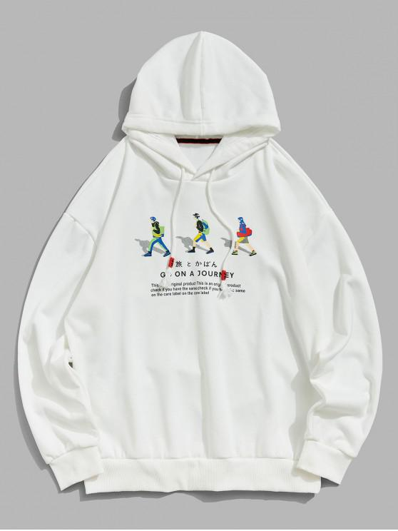 women Journey People Character Letter Graphic Drawstring Hoodie - WHITE 2XL