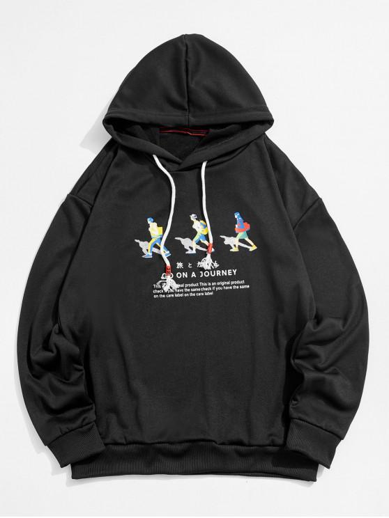 women's Journey People Character Letter Graphic Drawstring Hoodie - GRAPHITE BLACK XL