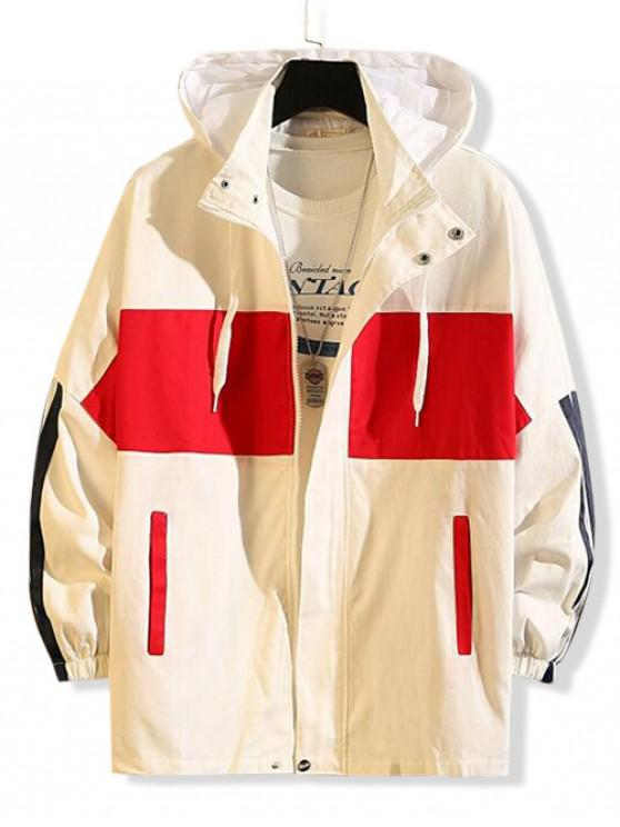 womens Color Blocking Spliced Letter Graphic Hooded Jacket - RED 2XL