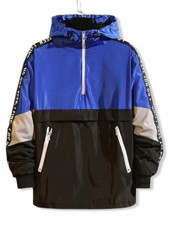 Veste à Capuche Lettre Graphique en Blocs de Couleurs Jointif à Demi-Zip - Bleu XL