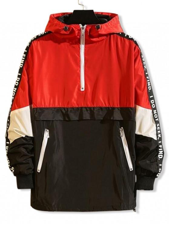 Цветной блок Графический принт буквы Половинная молния Пуловер С капюшоном Куртка - Красный 3XL