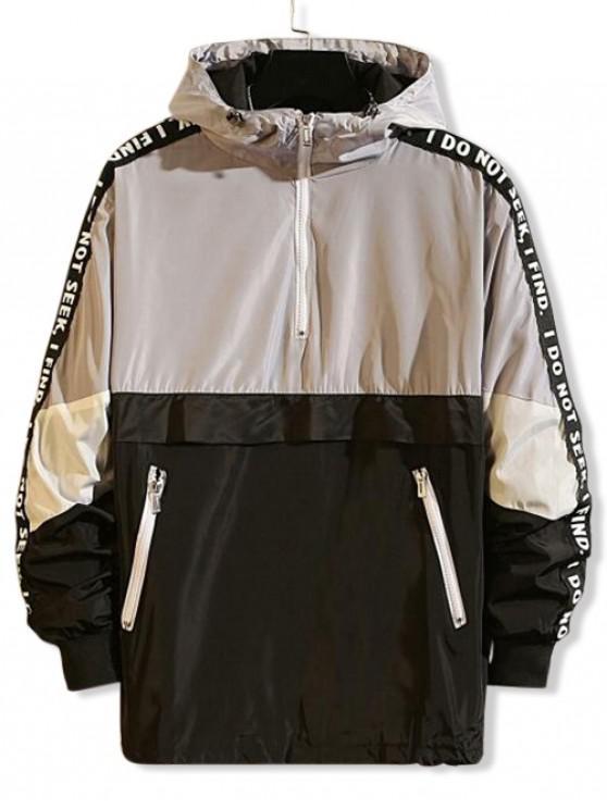 Цветной блок Графический принт буквы Половинная молния Пуловер С капюшоном Куртка - Серый L