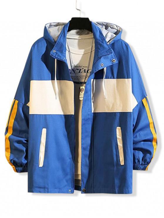 online Color Blocking Spliced Letter Graphic Hooded Jacket - BLUE L