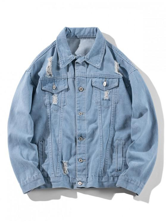 trendy Distressed Solid Ripped Flap Pocket Jean Jacket - LIGHT BLUE 4XL
