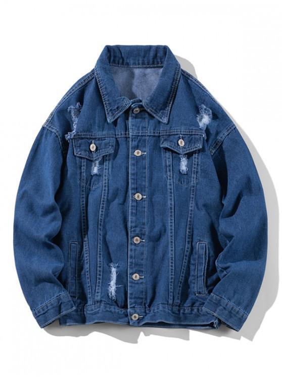 lady Distressed Solid Ripped Flap Pocket Jean Jacket - DEEP BLUE XL