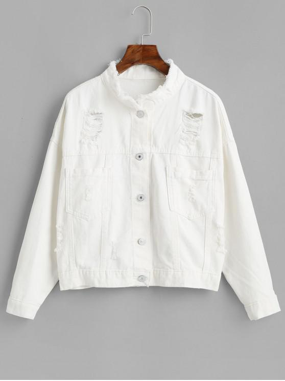 shops Frayed Ripped Pocket Denim Jacket - WHITE M