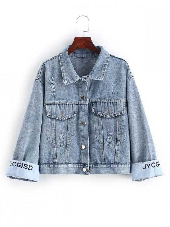 women's Button Front Distressed Embroidered Back Denim Jacket - DENIM BLUE S
