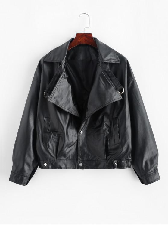 womens Faux Leather Drop Shoulder Snap Button Jacket - BLACK ONE SIZE