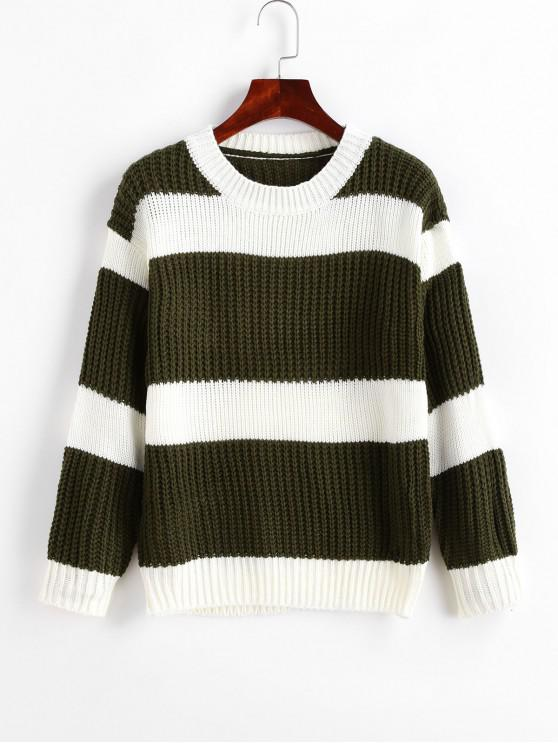 shop Crew Neck Colorblock Stripes Jumper Sweater - ARMY GREEN ONE SIZE