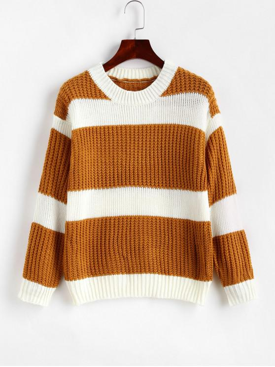 shops Crew Neck Colorblock Stripes Jumper Sweater - GOLDEN BROWN ONE SIZE