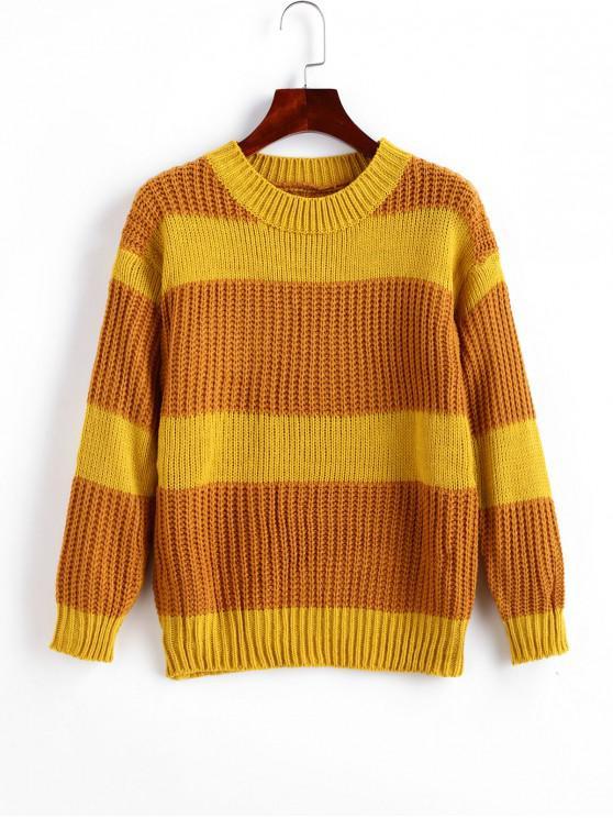 Colorblock cuello de equipo de las rayas del puente del suéter - Oro Anaranjado Talla única