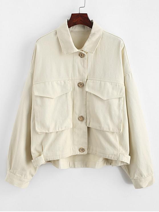 women's Button Front Flap Pockets Drop Shoulder Shirt Jacket - BEIGE S