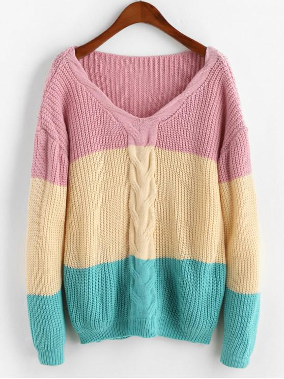 V Neck Cable Knit Colorblock suéter - Multicolor Talla única