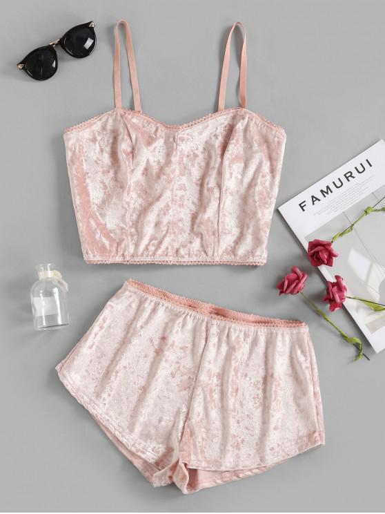 online Velvet Cami Top and Shorts Lingerie Set - PINK XL