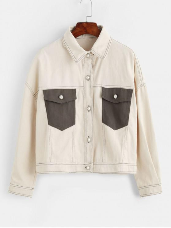 women Faux Pearl Button Flap Pocket Denim Boyfriend Jacket - BEIGE S