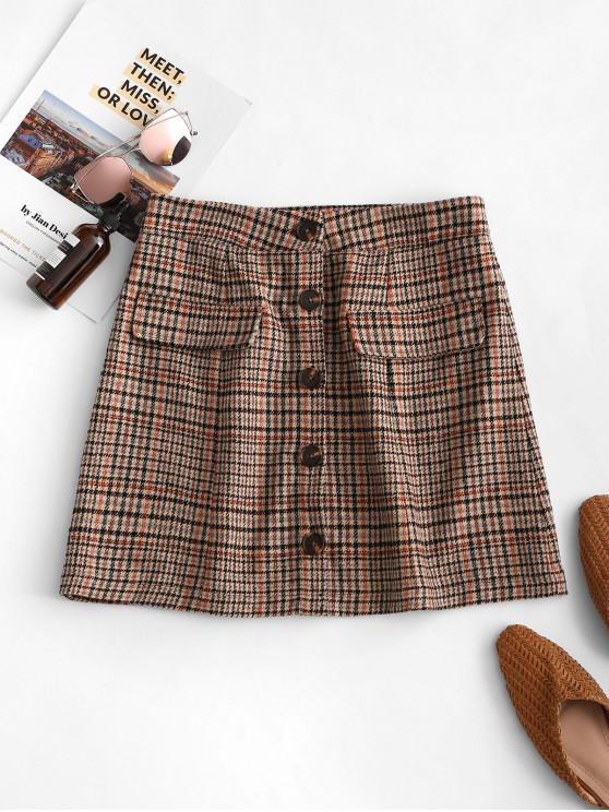 hot ZAFUL Faux Flap Pockets Plaid Button Up Mini Skirt - MULTI S