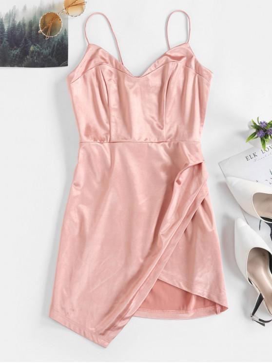 fashion ZAFUL Overlap Asymmetric Mini Satin Cami Dress - ROSE L
