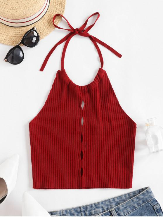 fashion ZAFUL Hollow Out Crop Halter Sweater Vest - RED WINE M
