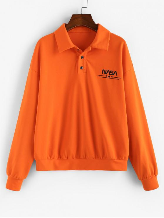 outfit ZAFUL Letter Star Drop Shoulder Quarter Button Sweatshirt - HALLOWEEN ORANGE M
