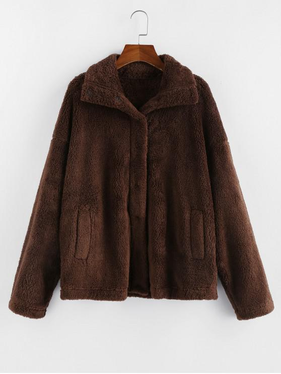 affordable ZAFUL Pocket Drop Shoulder Plush Coat - COFFEE XL