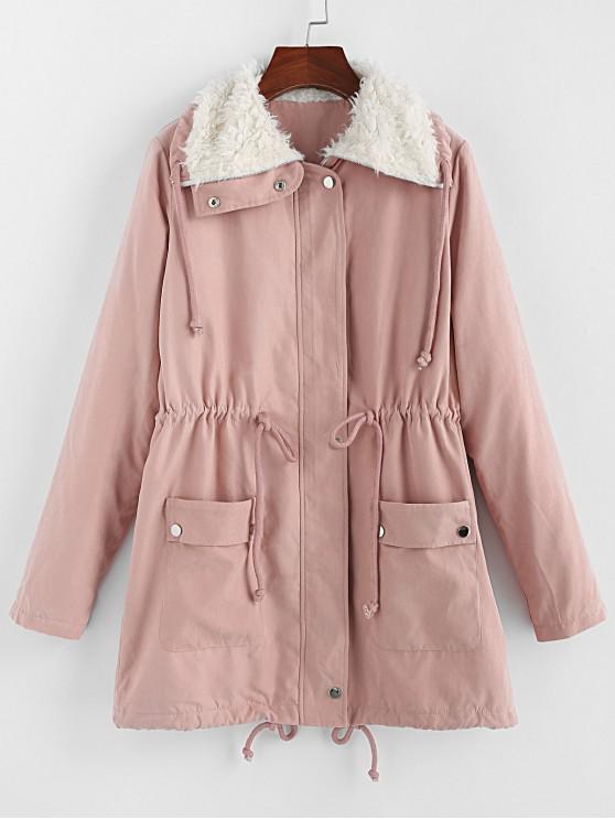 buy ZAFUL Faux Fur Collar Pocket Longline Coat - PINK XL