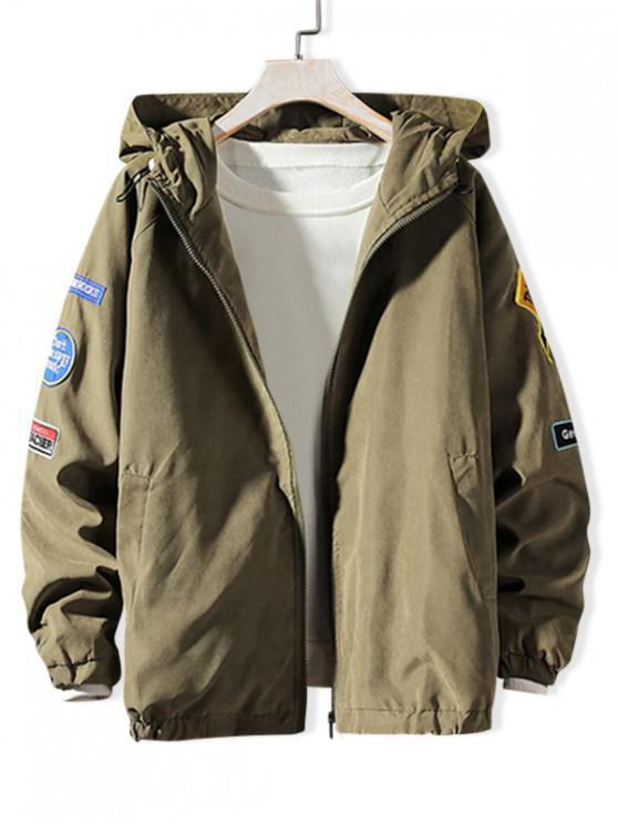 shops Letter Embroidery Applique Raglan SleeveHooded Jacket - FERN GREEN L