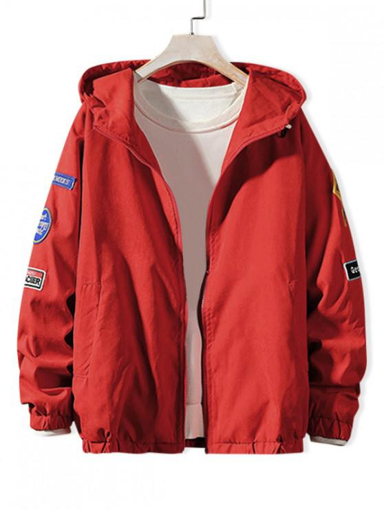 outfits Letter Embroidery Applique Raglan SleeveHooded Jacket - LAVA RED L