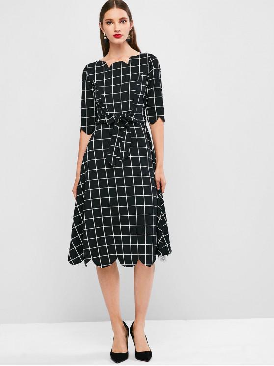 women ZAFUL Scalloped Edge Belted Checked Long Sleeve Dress - BLACK S